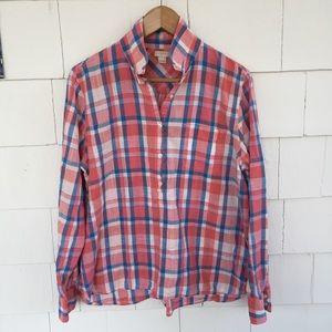 J. Crew Factory Plaid Gauze Popover Shirt Sz L